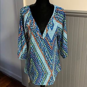 NWT buttons Mixed Print V-Neck Blouse